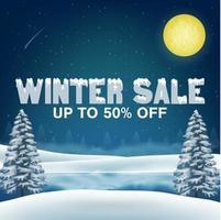 Venta de invierno 50 por ciento con fondo de lago de invierno vector