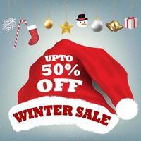 sombrero de santa claus con venta de invierno 50 por ciento vector