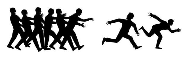 silhouette human runs from zombies vector