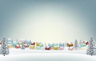 pequeño pueblo en la nieve invierno fondo de la colina vector