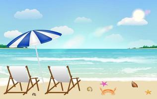 chair on sandy beach background vector