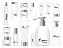 cosmetic tubes on white background. White and silver colors vector