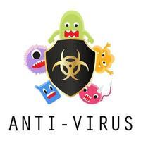 anti-virus shield with virus cartoon vector
