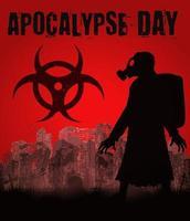 día del apocalipsis con el hombre de la máscara de gas en la ciudad en ruinas vector