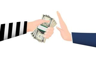 hand rejecting money banknotes from thief hand vector