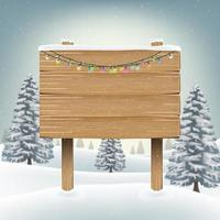christmas wood board sign with snow vector