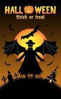 vampiro con fondo de halloween vector