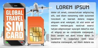 smartphone and global travel sim card  luggage bag vector