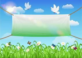vinyl banners backdrop with grass and sky background vector