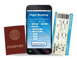 reserva de vuelos en línea y pasaporte de embarque vector