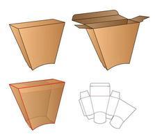 diseño de plantilla troquelada de embalaje de caja. Maqueta 3d vector
