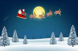 Papá Noel con renos en la colina del bosque de invierno vector