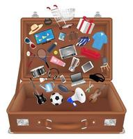 open suitcase bag with general shopping object vector