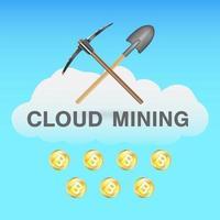 Minería en la nube de bitcoin con pico y pala en el logotipo de la nube vector