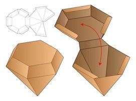Plantilla troquelada de embalaje de caja en forma de diamante vector