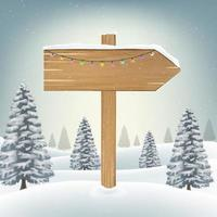 christmas direction wood board sign on snow vector