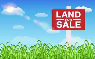 land sale sign on grass field with sky background vector