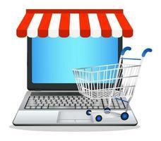 portátil con tienda de marketing online vector