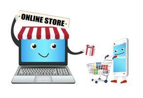 Tienda online de portátiles con teléfono inteligente y carrito de la compra. vector