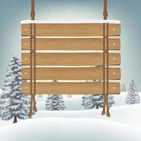 hang wood board with snow winter background vector