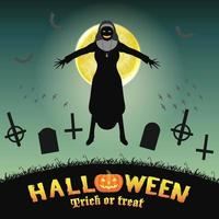halloween evil nun in a night graveyard vector