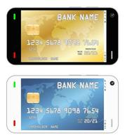 smartphone with a credit card in an interface vector