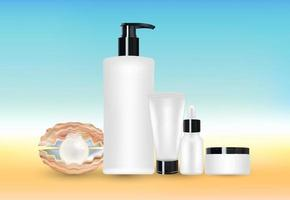 pearl and beauty cosmetic tube with blur sea background vector