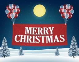 banner flotante de feliz navidad con globos vector