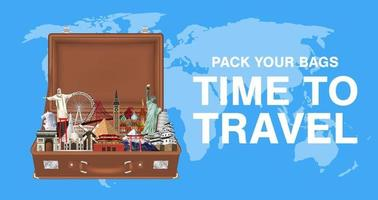 pack your bags time to travel with world landmarks vector