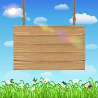 hang wood board sign with grass and sky background vector