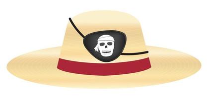 straw hat with pirate eye patch vector