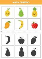 Find shadows of cute cartoon fruits. Cards for kids. vector