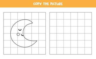 Copie la imagen de la linda media luna. juego de lógica para niños. vector