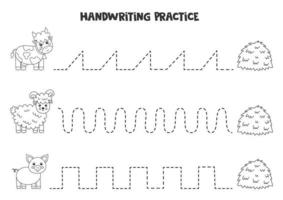 Tracing lines with black and white farm animals. Writing practice. vector