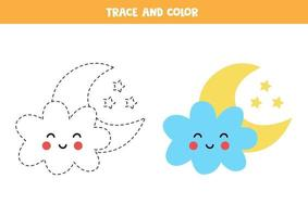 Trace and color cute kawaii cloud and moon. Worksheet for kids. vector