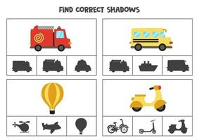 Find the correct shadows of transportation means. Clip cards for preschool kids. vector