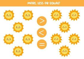 More, less, equal with cute kawaii suns. vector