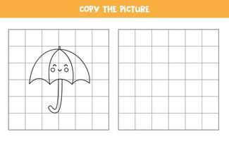 Copie la imagen del lindo paraguas. juego de lógica para niños. vector