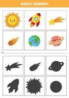 Shadow matching cards for preschool kids. Cartoon kawaii planets and stars. vector