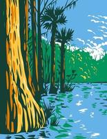 Subtropical Wetlands in Everglades National Park in the State of Florida WPA Poster Art vector