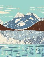 Parque nacional y reserva de la bahía de los glaciares con marea glaciares montañas fiordos ubicados al oeste de juneau alaska wpa poster art vector