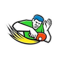 icono de mascota Ilustración de un jugador de tenis de mesa o de ping-pong que bloquea una pelota de ping pong con una paleta o una raqueta, visto desde el frente sobre un fondo aislado en estilo retro. vector