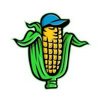 Mascot icon illustration of a corn on cob or maize, a type of cereal grain, wearing a baseball hat viewed from front on isolated background in retro style.