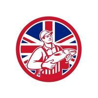 fishmonger holding fish UK flag mascot vector