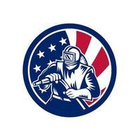 sandblaster front holding hose USA mascot vector