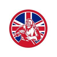 sandblaster front holding hose UK flag mascot vector