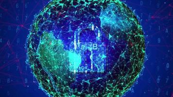 Esfera del plexo abstracto sobre un fondo azul video