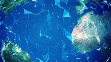 plexo esférico abstrato com globo giratório próximo