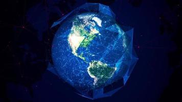 plexo esférico abstrato com globo giratório