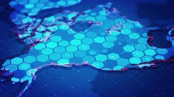 hexágonos digitales en el mapa de américa del norte video